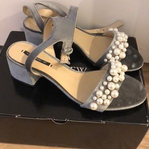 Shoes - Zara Pearl and Velvet Sandal